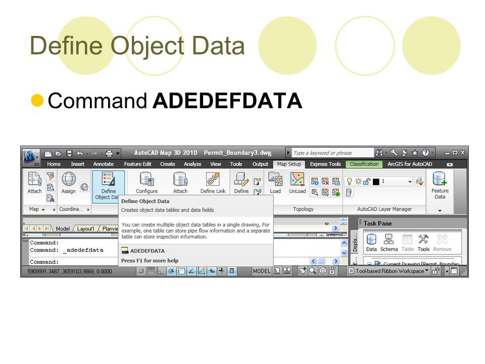 Define Object Data Command ADEDEFDATA