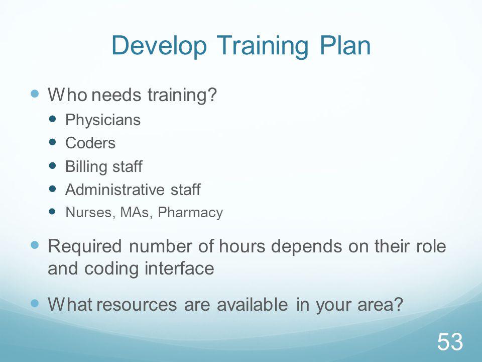 Develop Training Plan Who needs training.