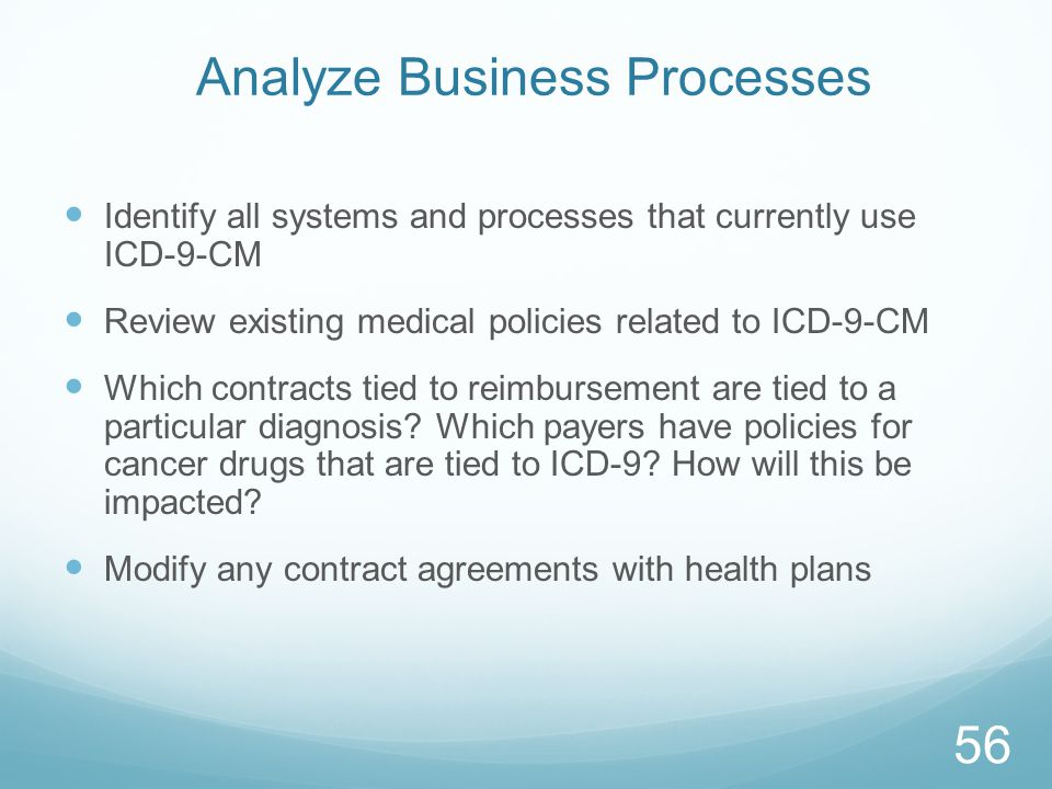 Analyze Business Processes Identify all systems and processes that currently use ICD-9-CM Review existing medical policies related to ICD-9-CM Which contracts tied to reimbursement are tied to a particular diagnosis.