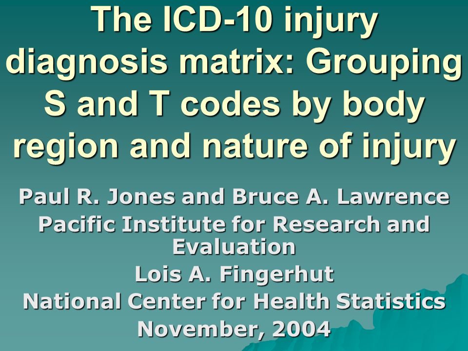 The ICD-10 injury diagnosis matrix: Grouping S and T codes by body region and nature of injury Paul R.