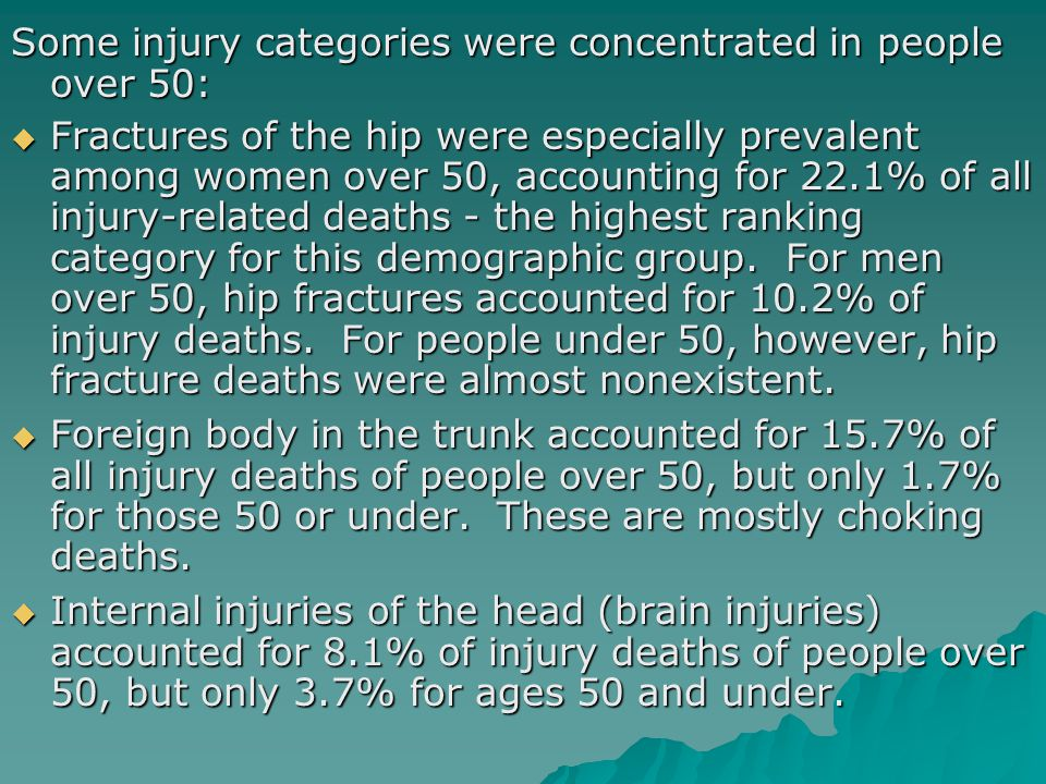 Some injury categories were concentrated in people over 50:  Fractures of the hip were especially prevalent among women over 50, accounting for 22.1% of all injury-related deaths - the highest ranking category for this demographic group.
