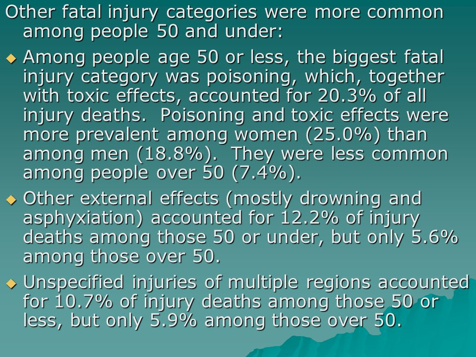 Other fatal injury categories were more common among people 50 and under:  Among people age 50 or less, the biggest fatal injury category was poisoning, which, together with toxic effects, accounted for 20.3% of all injury deaths.