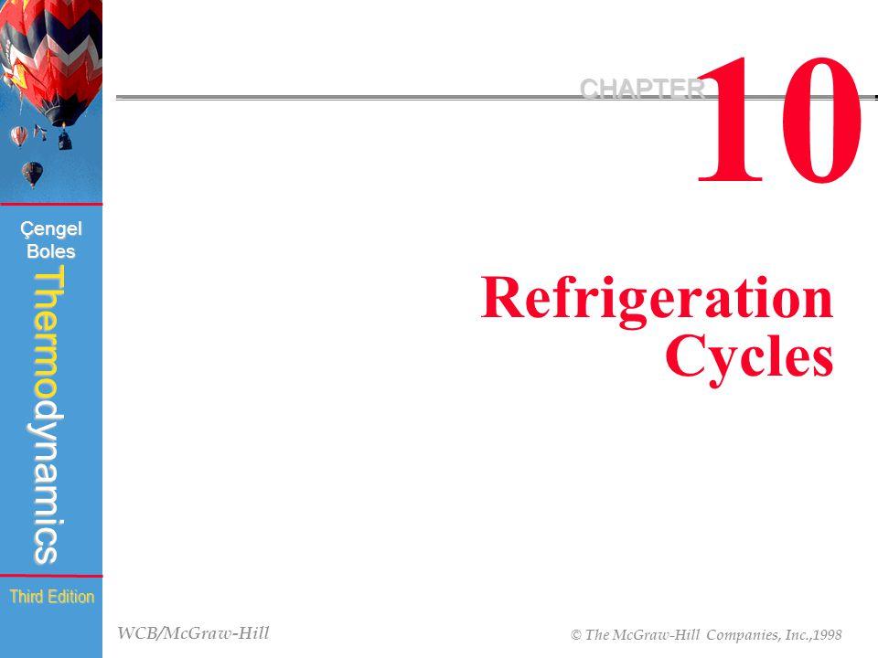WCB/McGraw-Hill © The McGraw-Hill Companies, Inc.,1998 Thermodynamics Çengel Boles Third Edition 10 CHAPTER Refrigeration Cycles