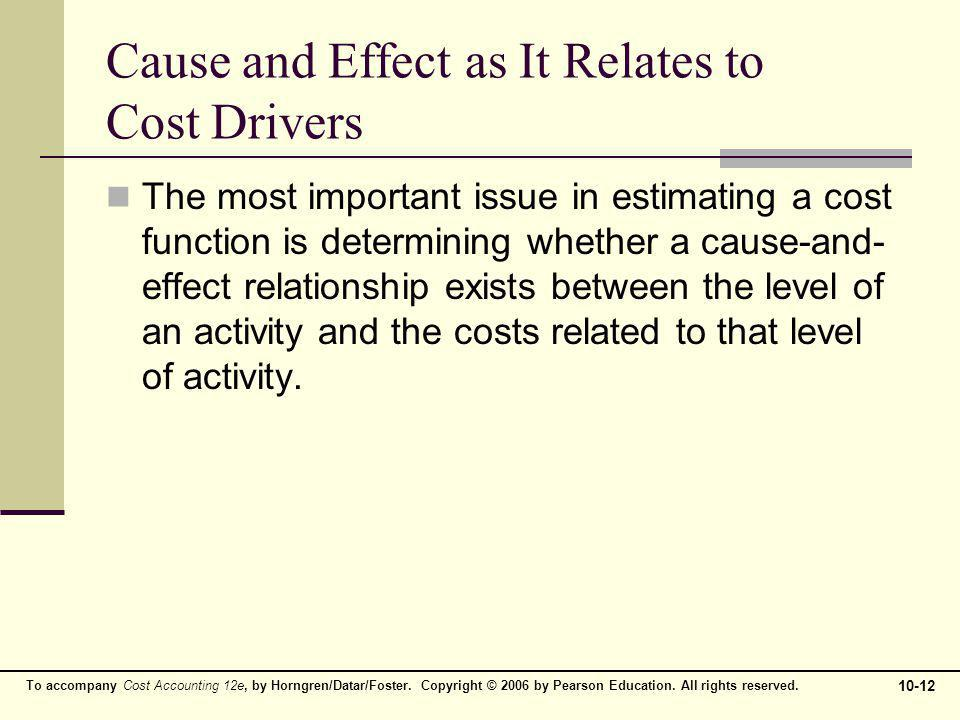 To accompany Cost Accounting 12e, by Horngren/Datar/Foster. Copyright © 2006 by Pearson Education. All rights reserved. 10-12 Cause and Effect as It R