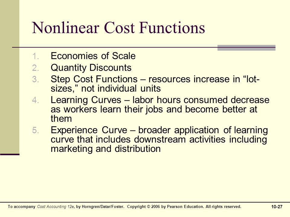 To accompany Cost Accounting 12e, by Horngren/Datar/Foster. Copyright © 2006 by Pearson Education. All rights reserved. 10-27 Nonlinear Cost Functions