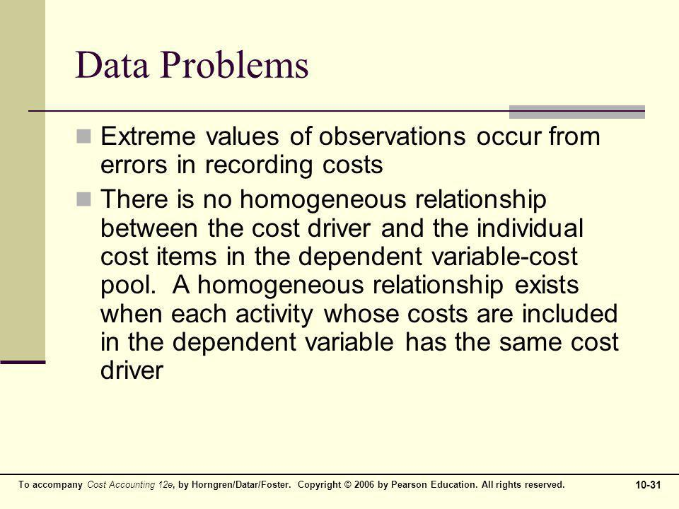 To accompany Cost Accounting 12e, by Horngren/Datar/Foster. Copyright © 2006 by Pearson Education. All rights reserved. 10-31 Data Problems Extreme va