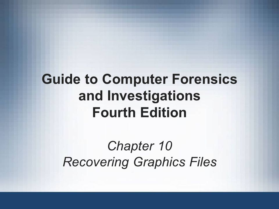 Guide to Computer Forensics and Investigations32 Reconstructing File Fragments (continued) Remember to save the updated recovered data with a.jpg extension Sometimes suspects intentionally corrupt cluster links in a disk's FAT –Bad clusters appear with a zero value on a disk editor