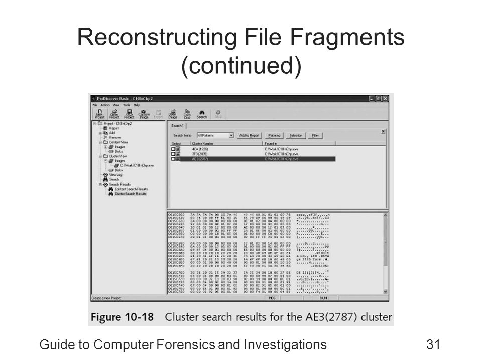 Guide to Computer Forensics and Investigations31 Reconstructing File Fragments (continued)