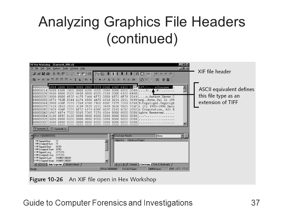 Guide to Computer Forensics and Investigations37 Analyzing Graphics File Headers (continued)