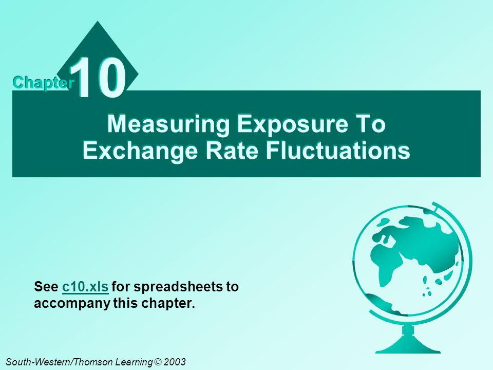 C10 - 2 Chapter Objectives To discuss the relevance of an MNC's exposure to exchange rate risk; To explain how transaction exposure can be measured; To explain how economic exposure can be measured; and To explain how translation exposure can be measured.