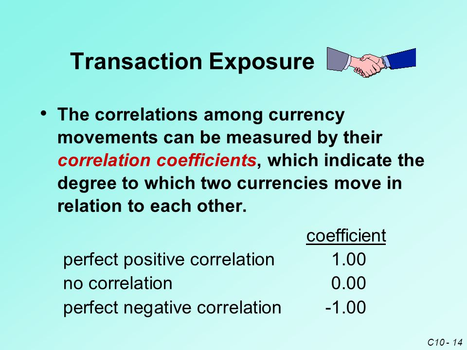 C10 - 14 The correlations among currency movements can be measured by their correlation coefficients, which indicate the degree to which two currencies move in relation to each other.