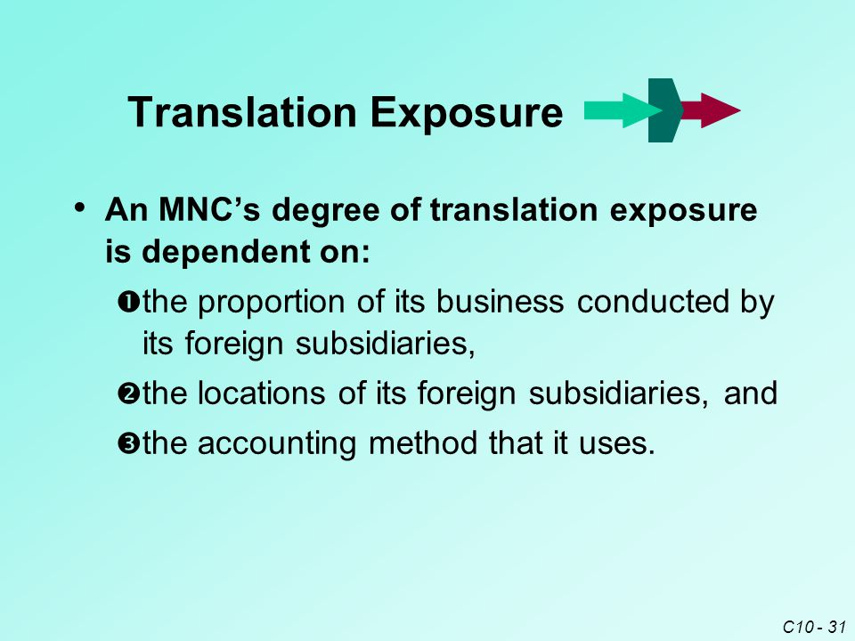 C10 - 31 An MNC's degree of translation exposure is dependent on:  the proportion of its business conducted by its foreign subsidiaries,  the locations of its foreign subsidiaries, and  the accounting method that it uses.
