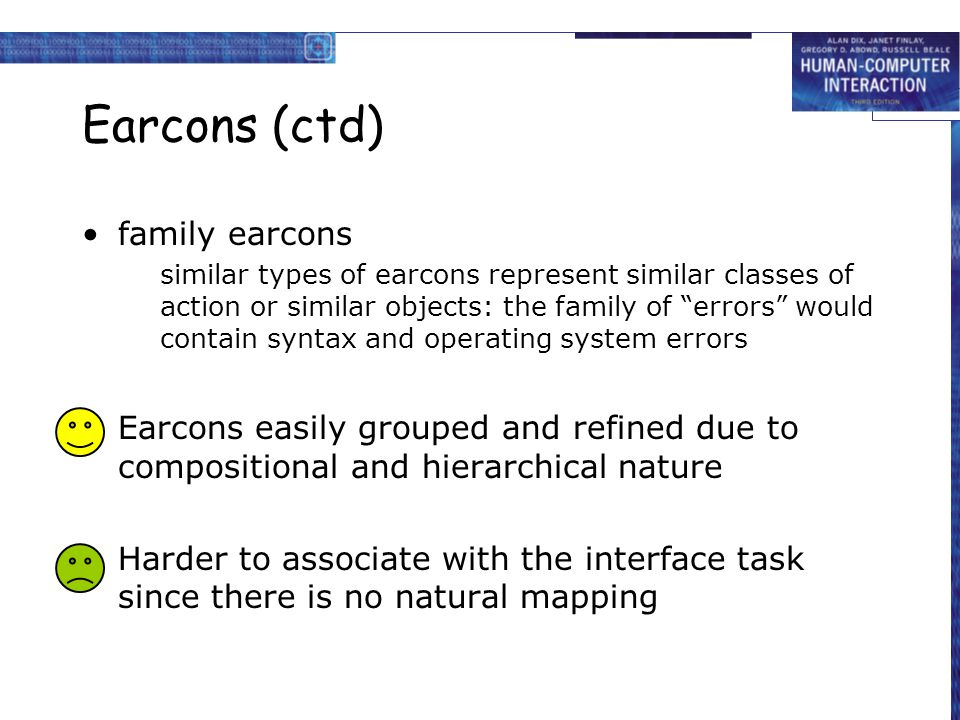 """Earcons (ctd) family earcons similar types of earcons represent similar classes of action or similar objects: the family of """"errors"""" would contain syn"""