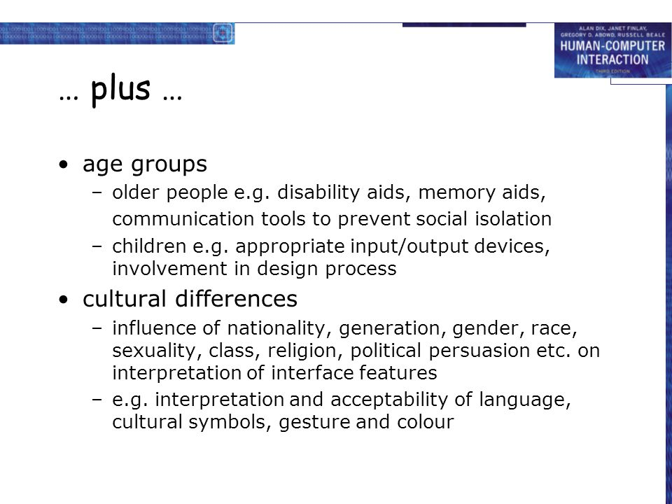 … plus … age groups –older people e.g. disability aids, memory aids, communication tools to prevent social isolation –children e.g. appropriate input/