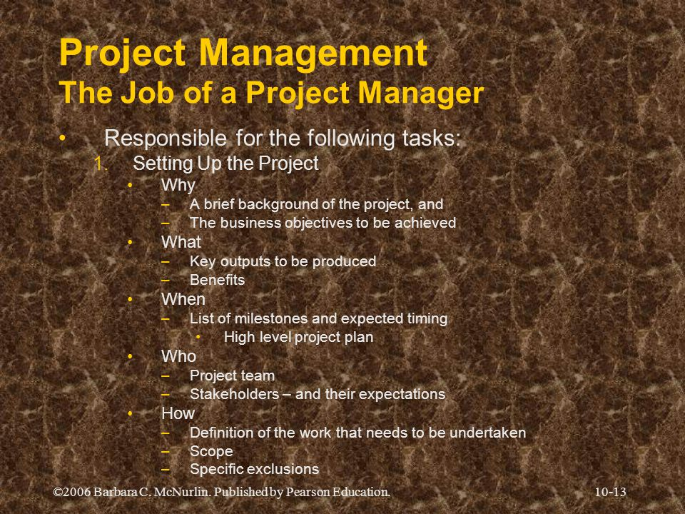 ©2006 Barbara C. McNurlin. Published by Pearson Education.10-13 Project Management The Job of a Project Manager Responsible for the following tasks: 1