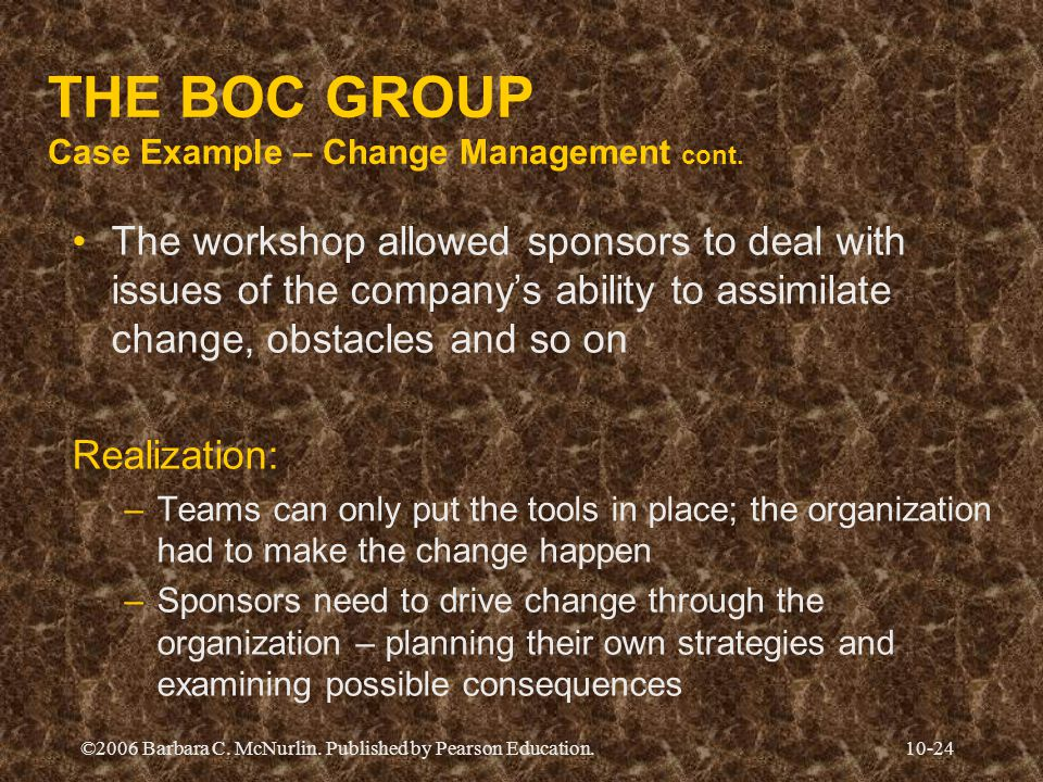 ©2006 Barbara C. McNurlin. Published by Pearson Education.10-24 THE BOC GROUP Case Example – Change Management cont. The workshop allowed sponsors to