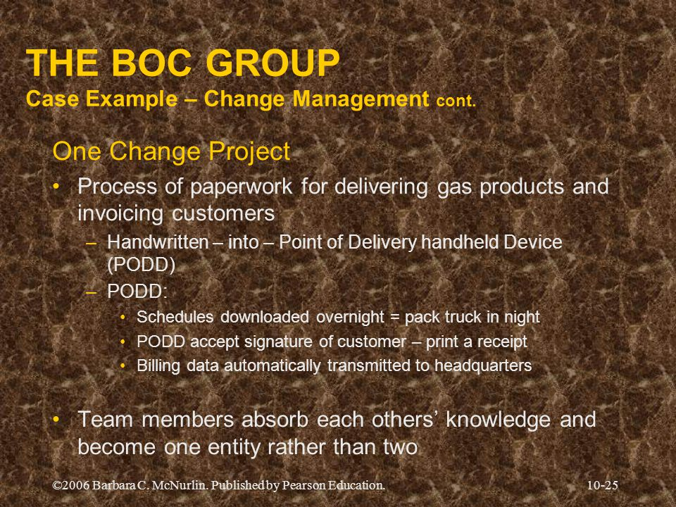 ©2006 Barbara C. McNurlin. Published by Pearson Education.10-25 THE BOC GROUP Case Example – Change Management cont. One Change Project Process of pap