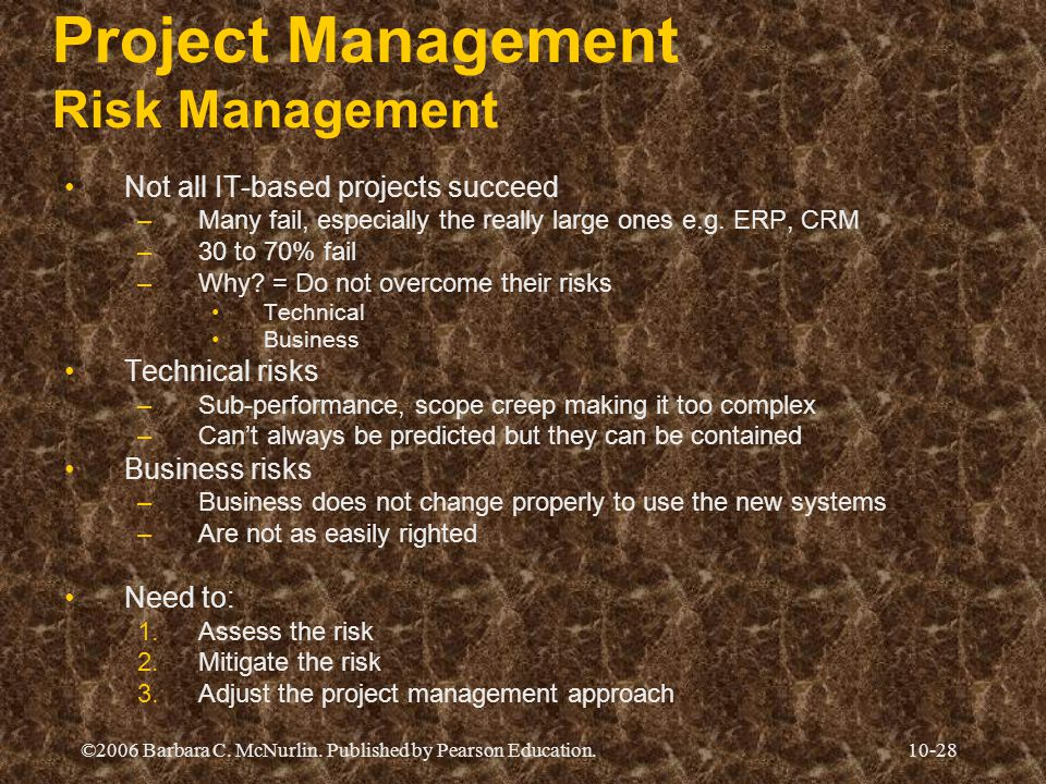 ©2006 Barbara C. McNurlin. Published by Pearson Education.10-28 Project Management Risk Management Not all IT-based projects succeed –Many fail, espec