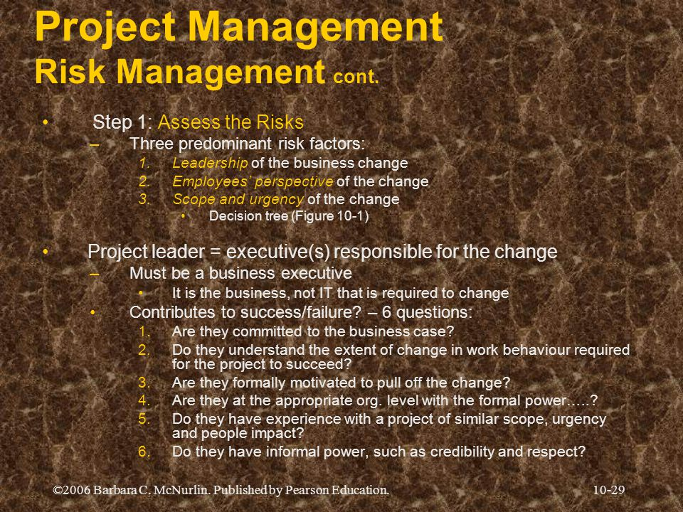 ©2006 Barbara C. McNurlin. Published by Pearson Education.10-29 Project Management Risk Management cont. Step 1: Assess the Risks –Three predominant r