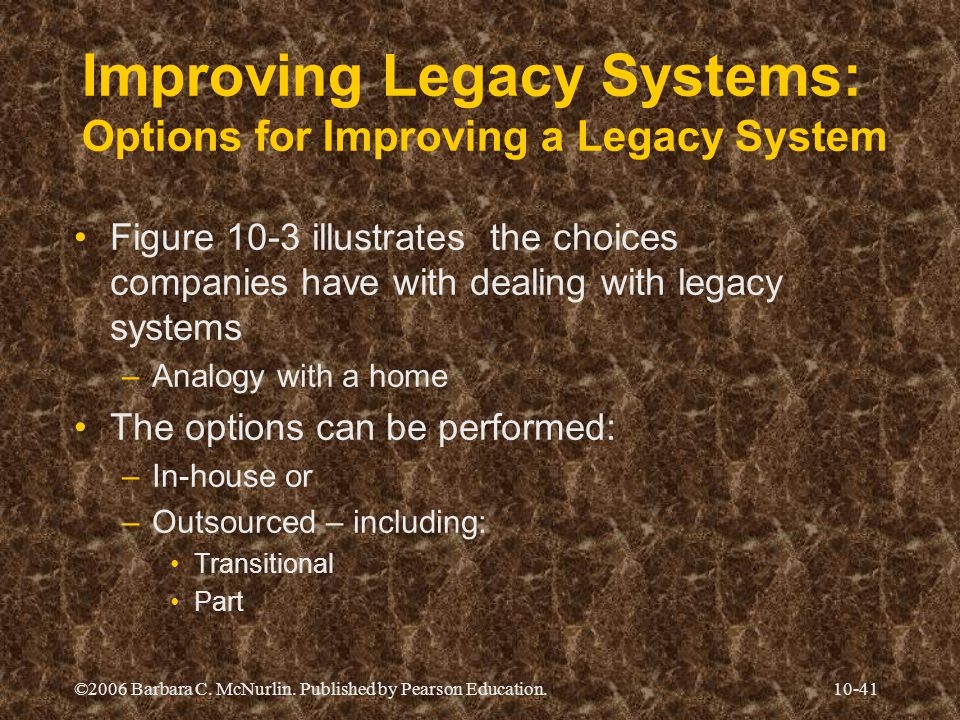 ©2006 Barbara C. McNurlin. Published by Pearson Education.10-41 Improving Legacy Systems: Options for Improving a Legacy System Figure 10-3 illustrate