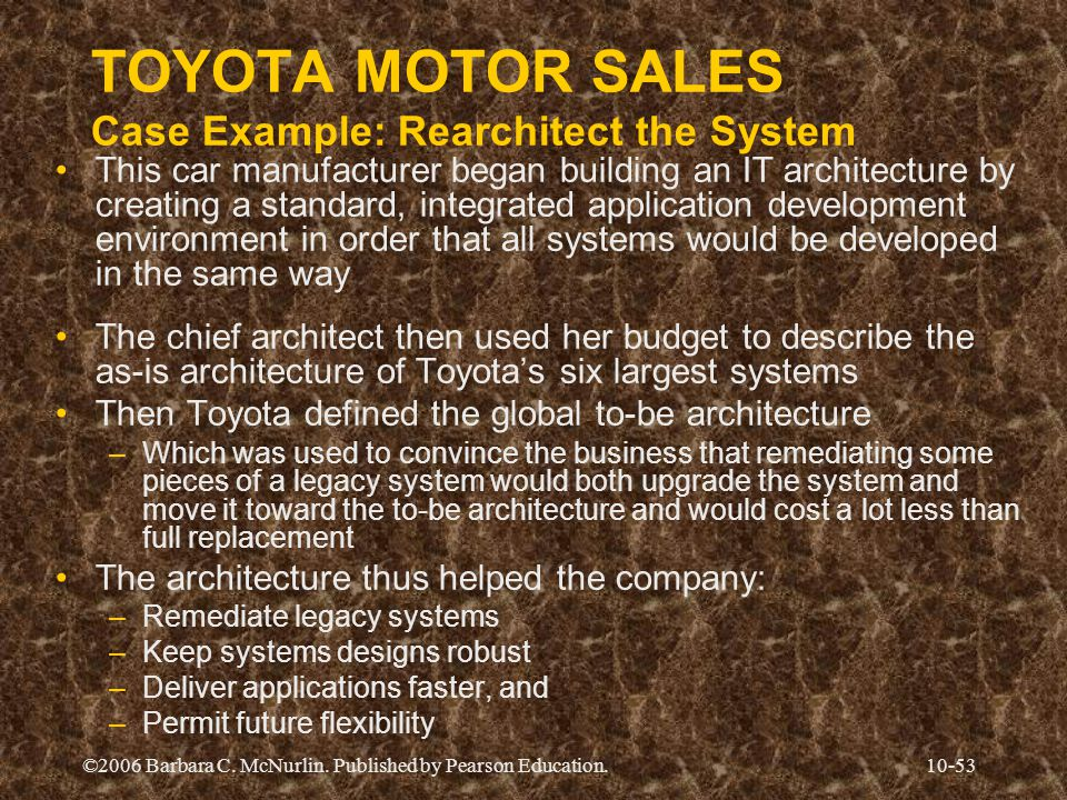 ©2006 Barbara C. McNurlin. Published by Pearson Education.10-53 TOYOTA MOTOR SALES Case Example: Rearchitect the System This car manufacturer began bu