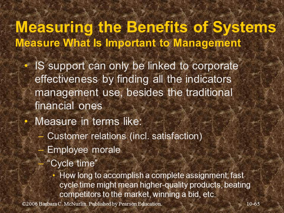 ©2006 Barbara C. McNurlin. Published by Pearson Education.10-65 Measuring the Benefits of Systems Measure What Is Important to Management IS support c