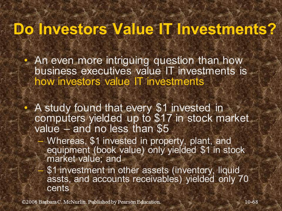 ©2006 Barbara C.McNurlin. Published by Pearson Education.10-68 Do Investors Value IT Investments.