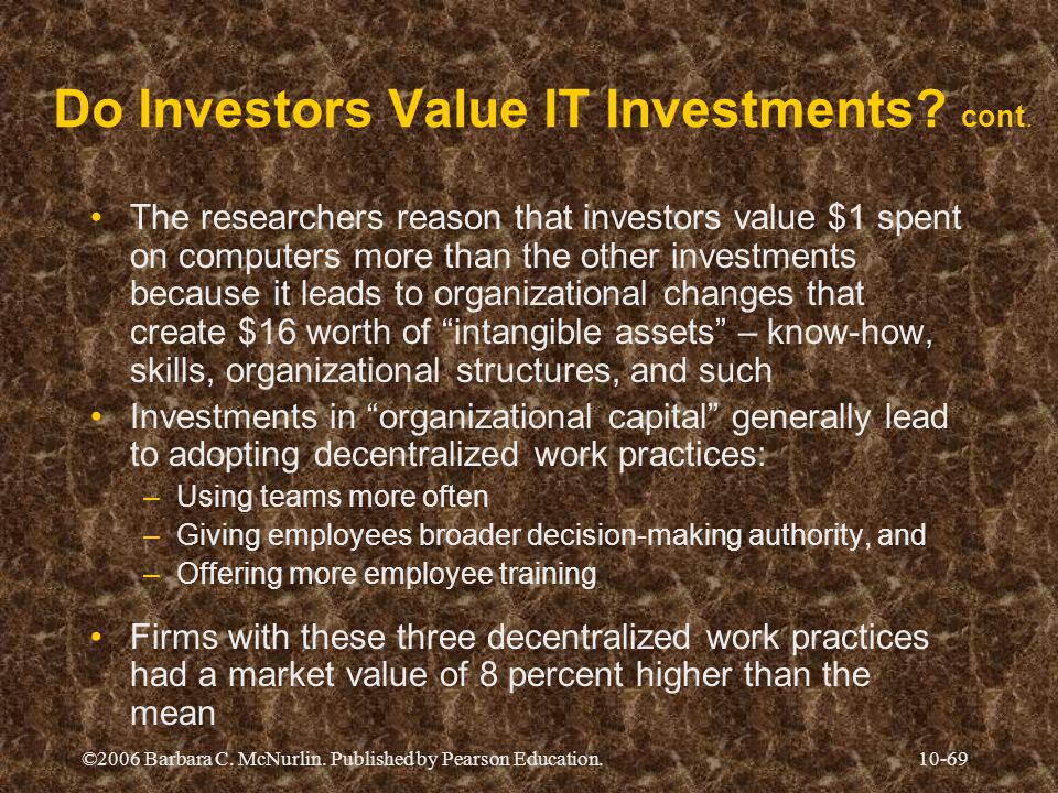 ©2006 Barbara C.McNurlin. Published by Pearson Education.10-69 Do Investors Value IT Investments.