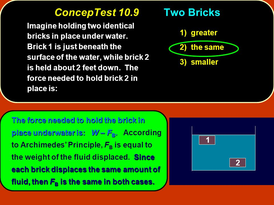 The force needed to hold the brick in place underwater is: W – F B. Since each brick displaces the same amount of fluid, then F B is the same in both