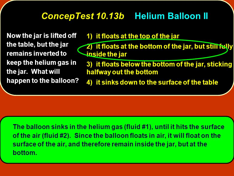 Now the jar is lifted off the table, but the jar remains inverted to keep the helium gas in the jar. What will happen to the balloon? 1) it floats at