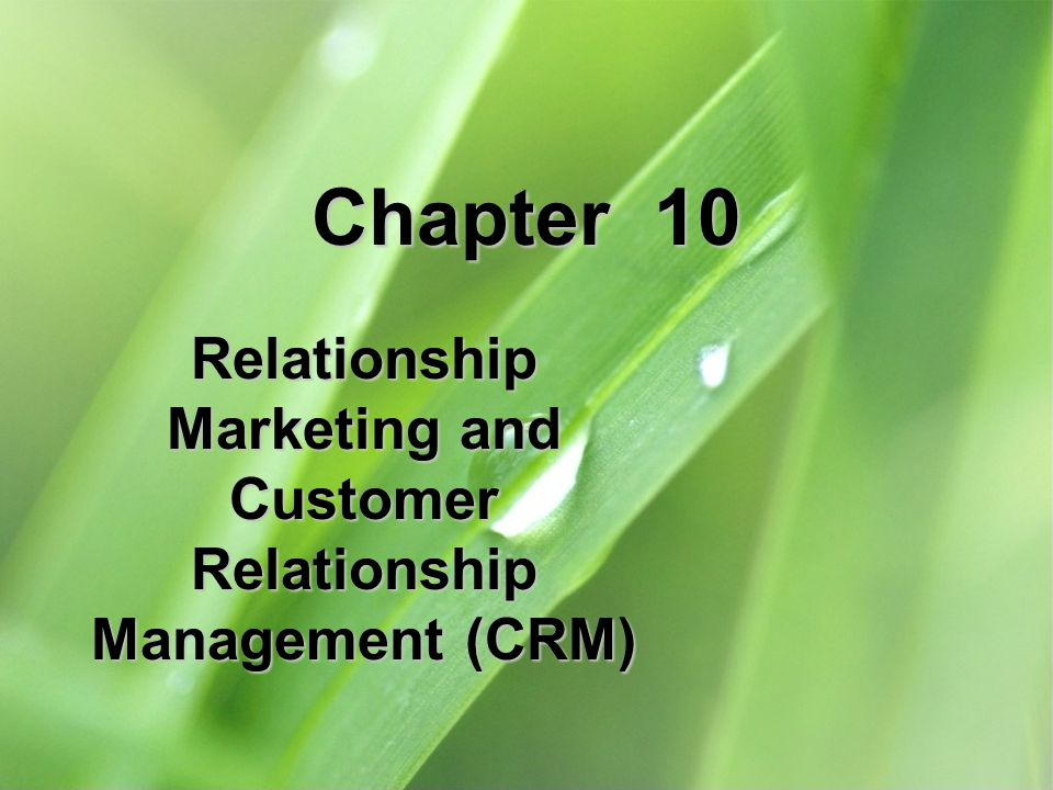 Chapter 10 Relationship Marketing and Customer Relationship Management (CRM)