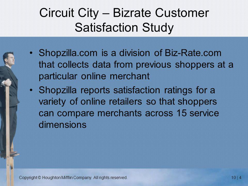 Copyright © Houghton Mifflin Company. All rights reserved.10 | 4 Circuit City – Bizrate Customer Satisfaction Study Shopzilla.com is a division of Biz