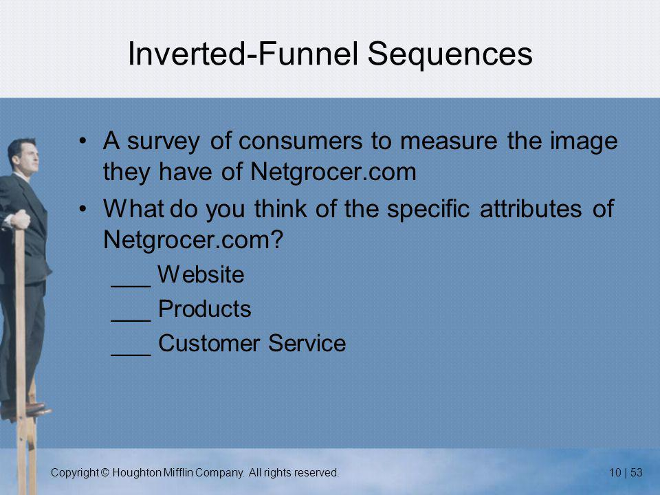 Copyright © Houghton Mifflin Company. All rights reserved.10 | 53 Inverted-Funnel Sequences A survey of consumers to measure the image they have of Ne