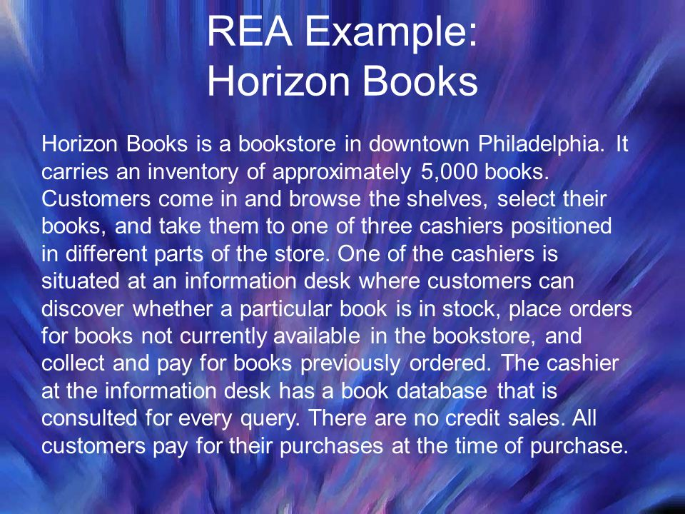 REA Example: Horizon Books Horizon Books is a bookstore in downtown Philadelphia. It carries an inventory of approximately 5,000 books. Customers come