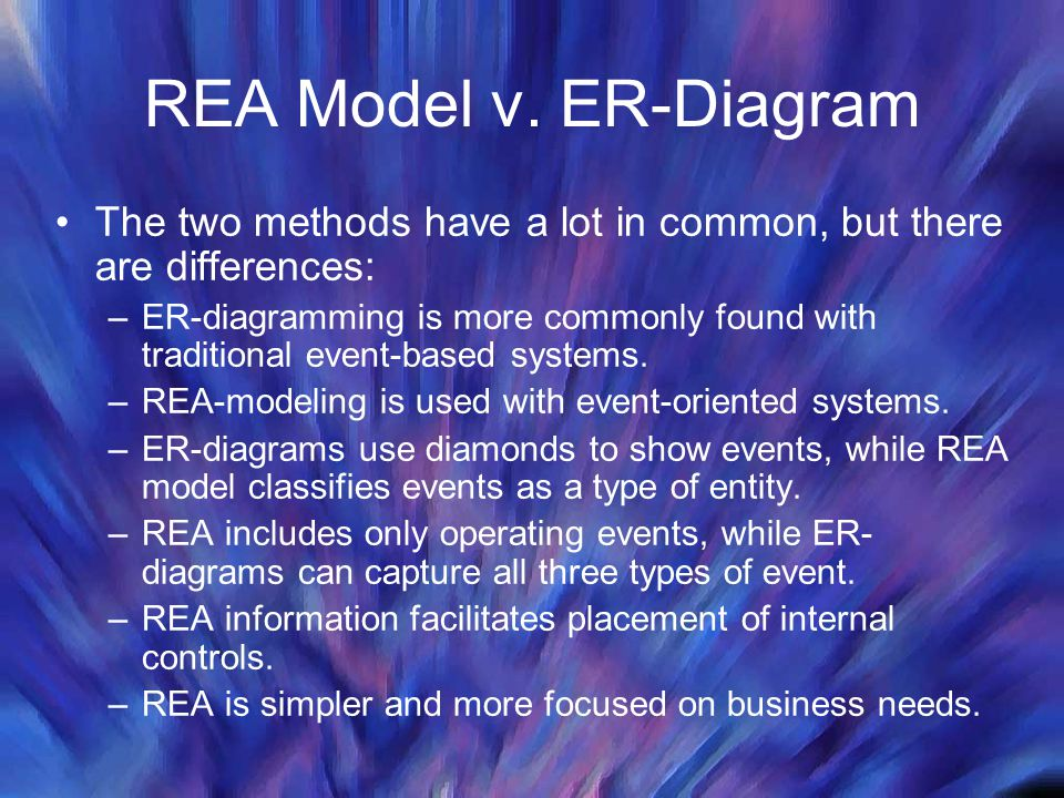 REA Model v. ER-Diagram The two methods have a lot in common, but there are differences: –ER-diagramming is more commonly found with traditional event