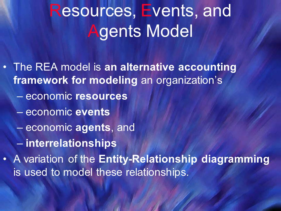 Resources, Events, and Agents Model The REA model is an alternative accounting framework for modeling an organization's –economic resources –economic