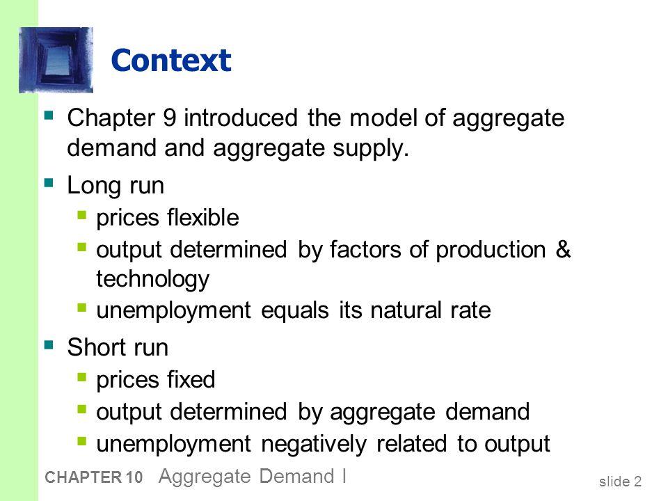 slide 33 CHAPTER 10 Aggregate Demand I Deriving the LM curve M/P r L (r, Y1 )L (r, Y1 ) r1r1 r2r2 r Y Y1Y1 r1r1 L (r, Y2 )L (r, Y2 ) r2r2 Y2Y2 LM (a) The market for real money balances (b) The LM curve