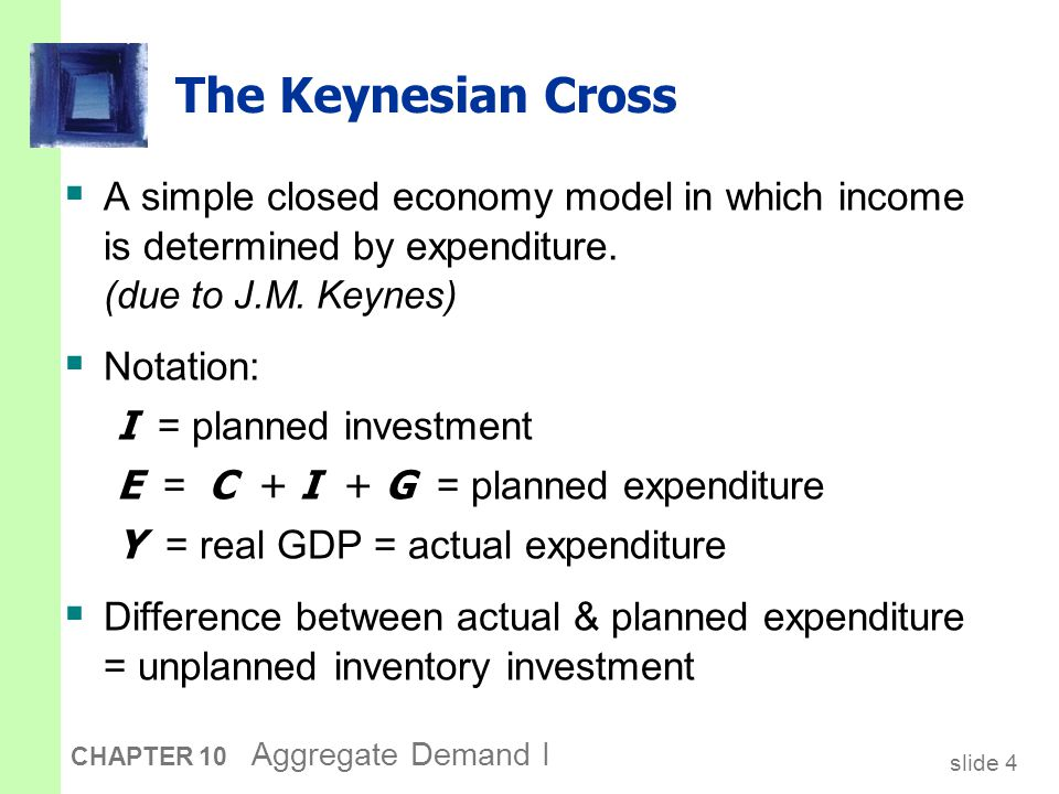 slide 5 CHAPTER 10 Aggregate Demand I Elements of the Keynesian Cross consumption function: for now, planned investment is exogenous: planned expenditure: equilibrium condition: govt policy variables: actual expenditure = planned expenditure