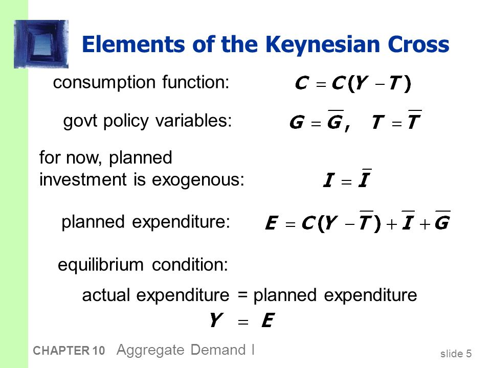 slide 16 CHAPTER 10 Aggregate Demand I The tax multiplier …is negative: A tax increase reduces C, which reduces income.
