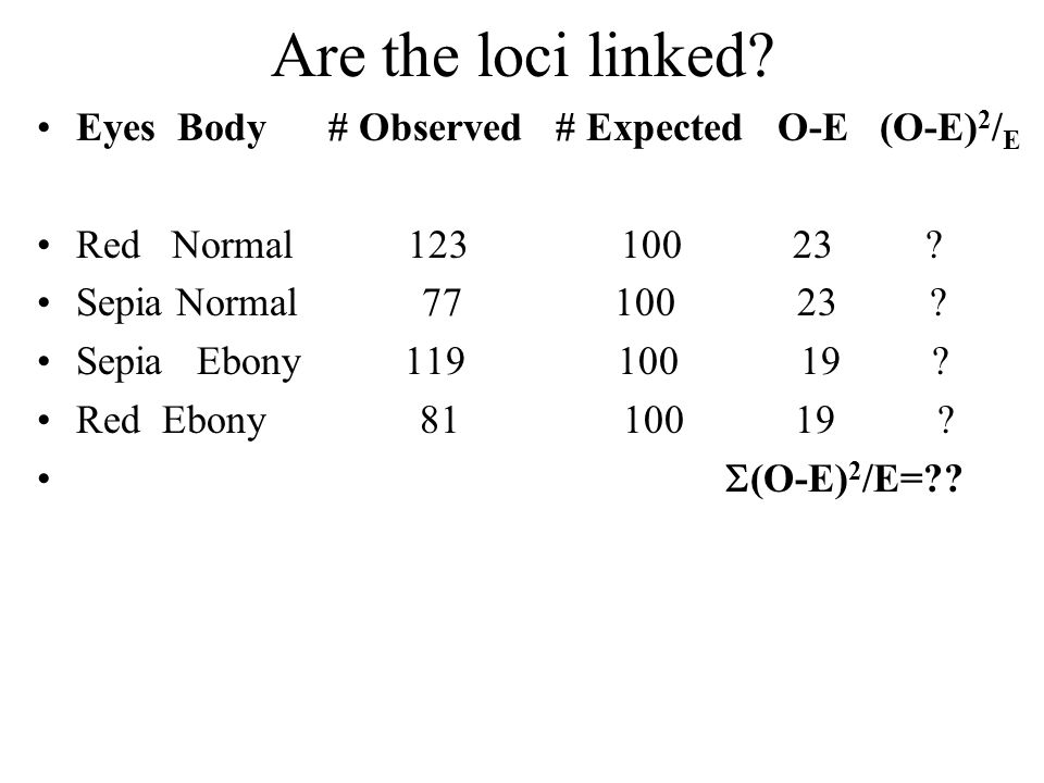 Are the loci linked? Eyes Body # Observed # Expected O-E (O-E) 2 / E Red Normal 123 100 23 ? Sepia Normal 77 100 23 ? Sepia Ebony 119 100 19 ? Red Ebo