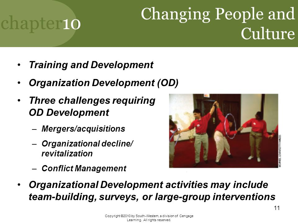 chapter10 Copyright ©2010 by South-Western, a division of Cengage Learning. All rights reserved. 11 Changing People and Culture Training and Developme