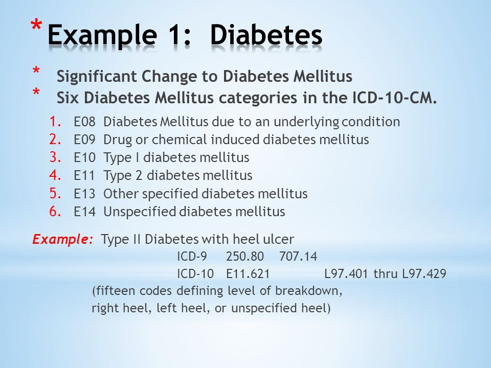 * Significant Change to Diabetes Mellitus * Six Diabetes Mellitus categories in the ICD-10-CM.