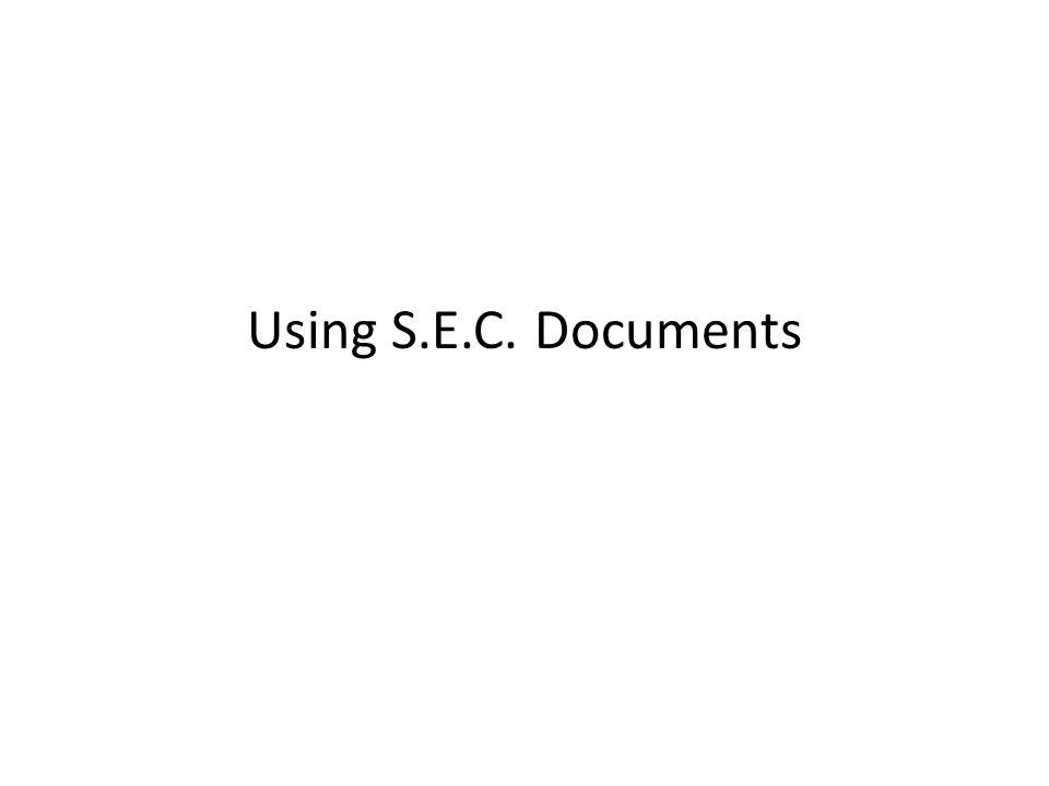 Using S.E.C. Documents