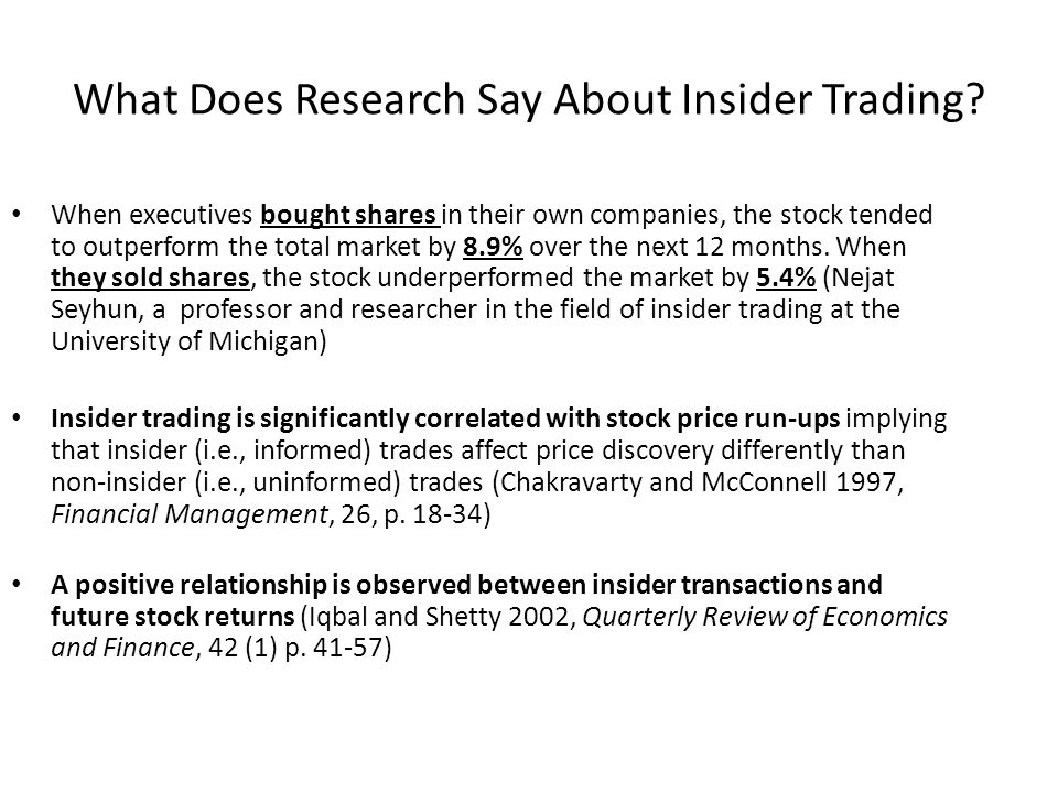 What Does Research Say About Insider Trading.