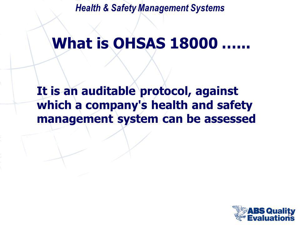 Health & Safety Management Systems 11 What is OHSAS 18000 …... It is an auditable protocol, against which a company's health and safety management sys