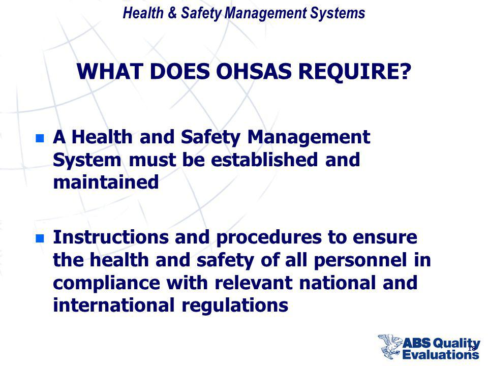Health & Safety Management Systems 18 WHAT DOES OHSAS REQUIRE? n n A Health and Safety Management System must be established and maintained n n Instru