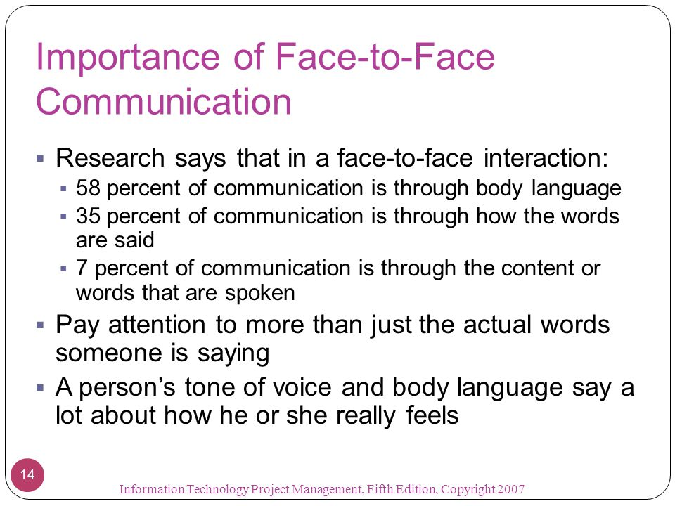 Importance of Face-to-Face Communication  Research says that in a face-to-face interaction:  58 percent of communication is through body language 