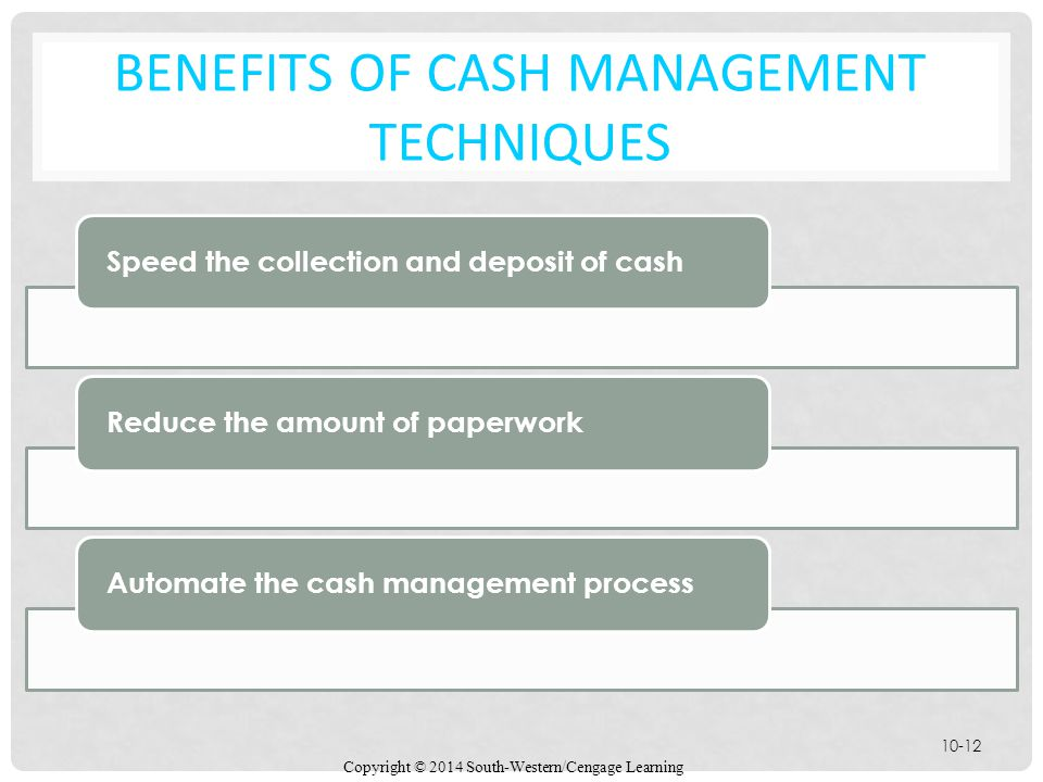 Copyright © 2014 South-Western/Cengage Learning 10-12 BENEFITS OF CASH MANAGEMENT TECHNIQUES Speed the collection and deposit of cash Reduce the amount of paperwork Automate the cash management process