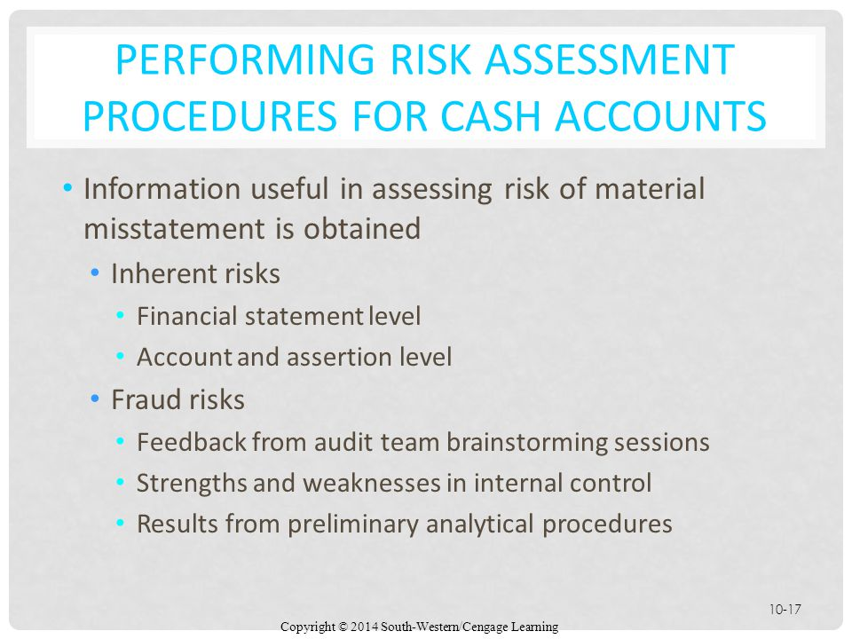 Copyright © 2014 South-Western/Cengage Learning 10-17 PERFORMING RISK ASSESSMENT PROCEDURES FOR CASH ACCOUNTS Information useful in assessing risk of material misstatement is obtained Inherent risks Financial statement level Account and assertion level Fraud risks Feedback from audit team brainstorming sessions Strengths and weaknesses in internal control Results from preliminary analytical procedures