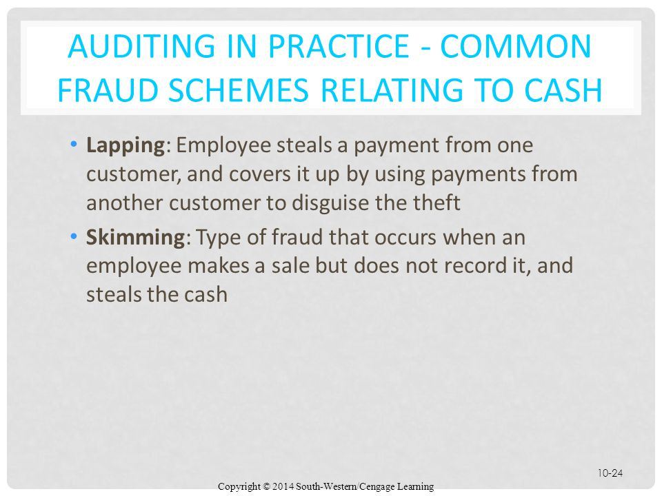 Copyright © 2014 South-Western/Cengage Learning 10-24 AUDITING IN PRACTICE - COMMON FRAUD SCHEMES RELATING TO CASH Lapping: Employee steals a payment from one customer, and covers it up by using payments from another customer to disguise the theft Skimming: Type of fraud that occurs when an employee makes a sale but does not record it, and steals the cash